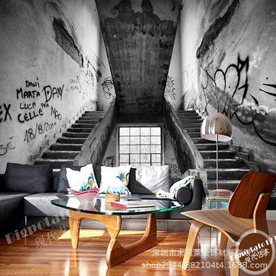 怀旧复古个性涂鸦楼梯壁画酒吧咖啡厅网吧背景墙无缝大型壁画壁纸