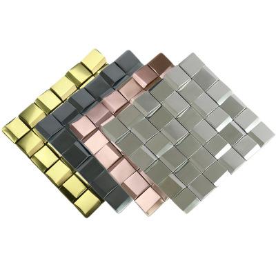 金色斜面立体金属马赛克 不锈钢 银色黑色拉丝面KTV 酒店会所墙砖