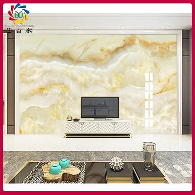 艺百家 瓷砖背景墙平面UV 高温微晶石3d影视墙云中歌客厅电视墙