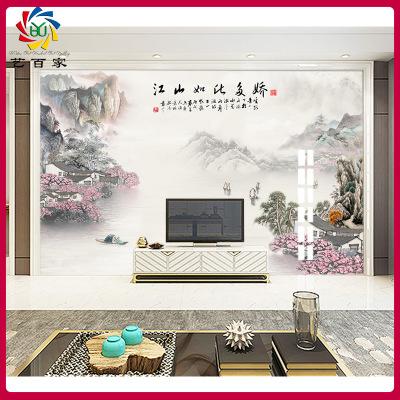 影视墙3d瓷砖背景墙简约新中式水墨山水画定制微晶石客厅电视墙砖