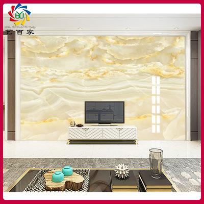 现代简约瓷砖背景墙 大气石纹云中歌平面UV 高温微晶石客厅电视墙