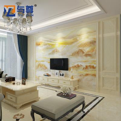 微晶石电视背景墙瓷砖欧式客厅罗马柱仿大理石边框装饰护墙板造型
