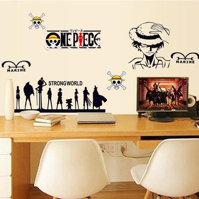 批发客厅卧室书房电脑桌装饰墙贴画路飞卡通贴纸AY7142【海贼王】