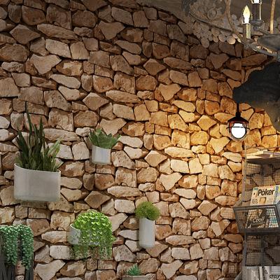 复古3D立体石纹石头石块文化石壁纸咖啡店酒吧客厅客厅砖纹墙纸
