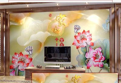 客厅玄关过道微晶石电视背景墙瓷砖家和富贵3d立体画现代中式简约