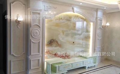 现代简约微晶石瓷砖客厅电视背景墙 石材护墙板罗马柱整体造型