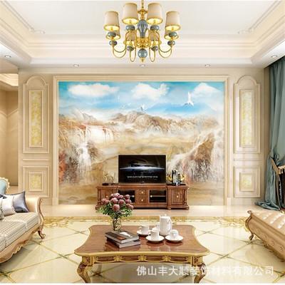 丰大顺极简轻奢微晶石大理石瓷砖电视背景墙厂家直销