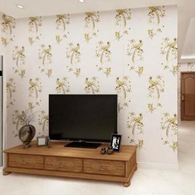 一件代发欧式刺绣花卉壁布无纺布底墙纸绣花无缝墙布高档壁布孔雀
