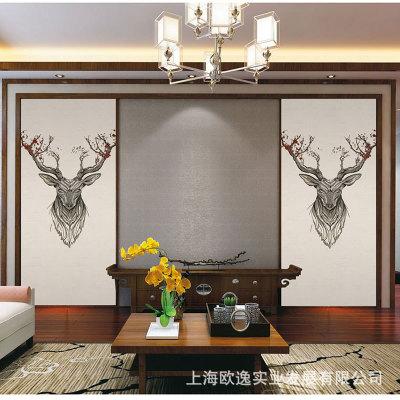 杭绣山水壁画无缝墙布刺绣沙发背景布电视背景墙中式玄关刺绣