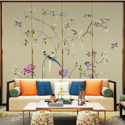 新中式刺绣床头硬包软包电视背景墙批发厂家定制皮革背景墙