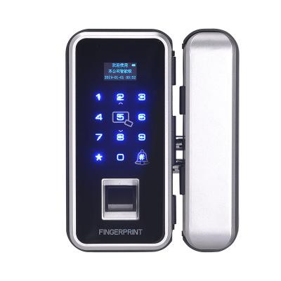 免开孔双门智能电子密码锁办公室玻璃门指纹锁单开门禁锁免布线锁