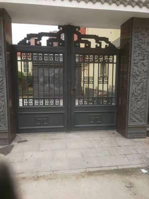 定制铝艺别墅庭院大门 欧式铁艺风格电动门 铝艺仿铜拉丝庭院大门