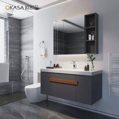 大理石台面浴室柜吊柜现代简约轻奢大理石洗手台盆柜组合一体定做