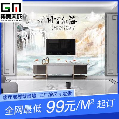 瓷砖背景墙中国风电视背景墙定制背景墙客厅瓷砖中式装修风景