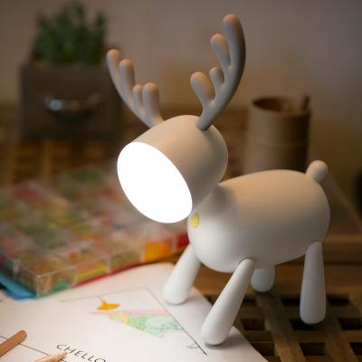 圣诞麋鹿led台灯年会礼物充电硅胶小夜灯伴睡灯书桌觅鹿台灯跨境