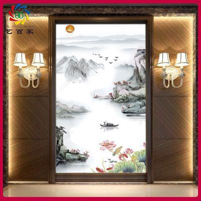 室内装饰工厂直销 瓷砖背景墙 中式水墨山水彩雕UV过道玄关内墙砖