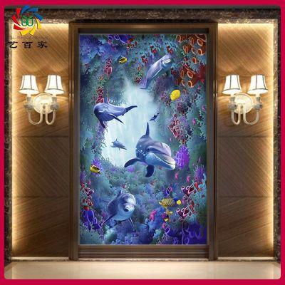 渗墨岗石大板UV瓷砖背景墙 实景3D海洋彩雕微晶石过道玄关