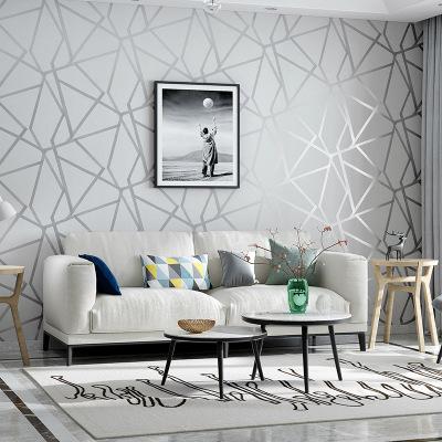 欧梵恩外贸热销现代简约几何图案无纺布墙纸 卧室客厅墙纸