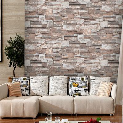 现代仿砖纹砖块红砖石压纹墙纸 质量保障高档压纹墙纸 厂家直销