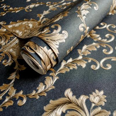 欧式奢华黑色大马士革墙纸立体深压纹客厅电视背景墙纸酒店壁纸