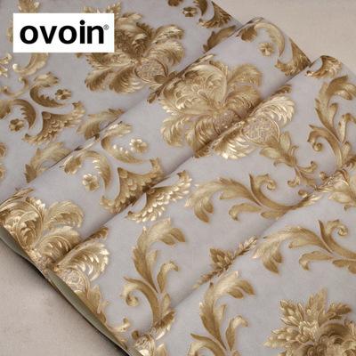 欧式精雕压纹壁纸豪华金色大马士革墙纸卧室客厅AB版竖条墙纸