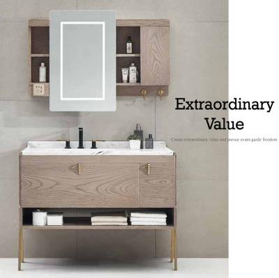 厂家可定制轻奢大理石浴室柜 LED触摸智能浴镜组合浴柜DP-1924