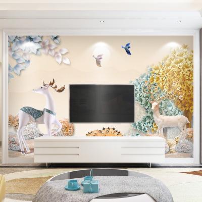 8d电视背景墙壁纸现代简约客厅北欧麋鹿壁画无纺布墙纸5d立体墙布
