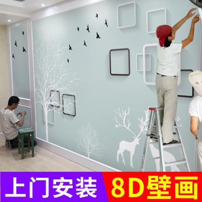 5d立体麋鹿电视背景墙壁纸客厅壁画大气3d卧室8d简约现代影视墙布