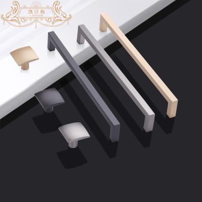 橱柜把手抽屉拉手美式银色衣柜门把手简约现代黑色锌合金门窗把手