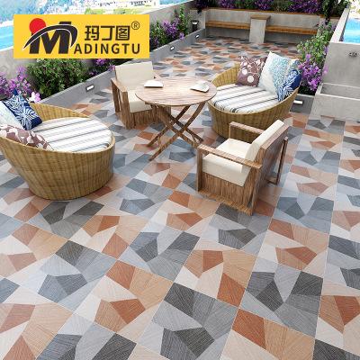 玛丁图 美式田园阳台瓷砖400x400仿古砖花园露台庭院防滑地板砖