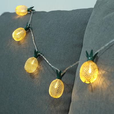 跨境新款LED菠萝灯串铁艺电池ins彩灯户外节日装饰灯卧室圣诞灯饰