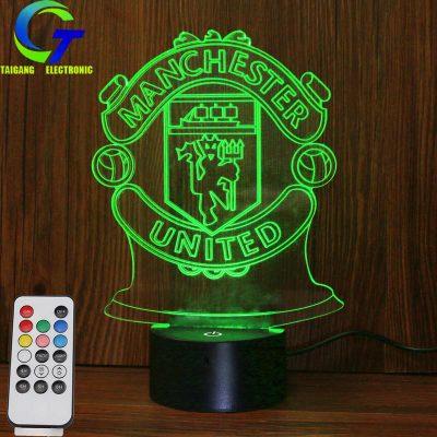 厂家批发led小夜灯 3d usb创意曼联标志亚克力新奇特七彩电子产品