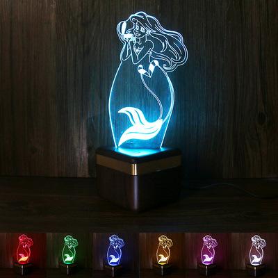 厂家热卖3D小夜灯蓝牙音箱美人鱼 七彩视觉立体小夜灯 亚克力定制