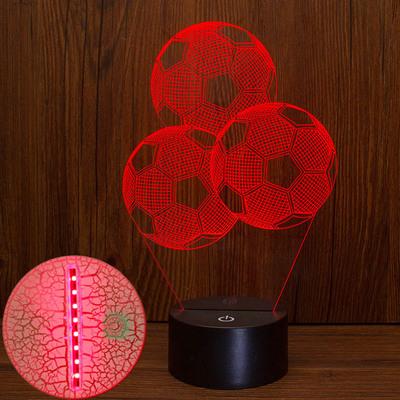 跨境新款足球3d小夜灯 创意七彩裂纹底座小夜灯新奇特电子产品