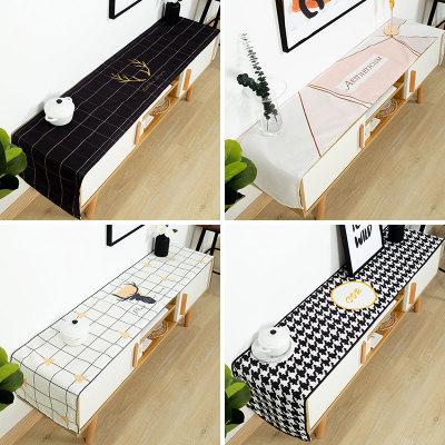 工厂直销北欧电视柜桌布防水布艺盖布防尘垫子长方形桌布支持定制