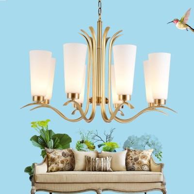 全铜精致美式吊灯简约轻奢后现代百搭田园玻璃罩吊灯客厅餐厅铜灯
