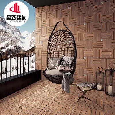 简约现代墙砖600x600仿古砖阳台仿木地板瓷砖庭院砖条形凹凸地砖