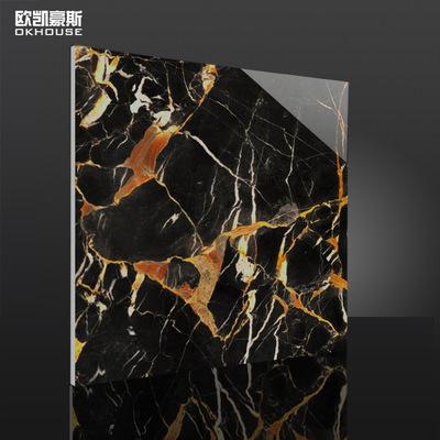 佛山厂价直销 600x600全抛釉地砖 巴诺克金 黑金瓷砖 客厅地板砖
