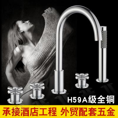 浴缸龙头五件套沐浴花洒缸边淋浴五孔成人缸分体圆形卫浴套装工程
