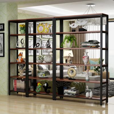 简易置物架钢木书架简约现代铁艺家用落地隔断客厅组合储物展示架