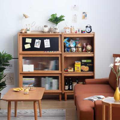 管木匠樱桃木书柜客厅中古简约置物柜小户型北欧实木收纳储物柜