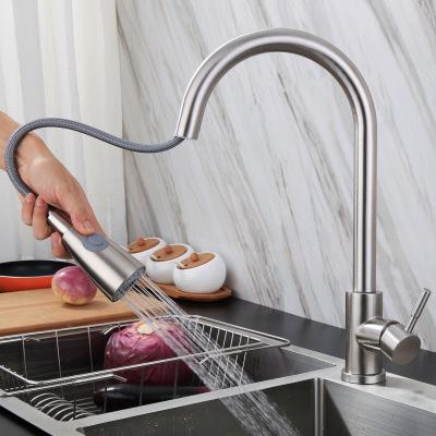厂家批发 304不锈钢厨房抽拉式水龙头 网红冷热洗菜盆伸缩水龙头