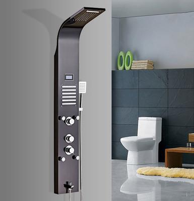 厂家批发304不锈钢淋浴屏套装带数字显示屏恒温可调节多功能花洒