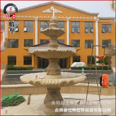 石雕喷泉天然晚霞红喷水池三层圆形喷泉户外园林流水招财喷泉摆件