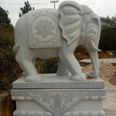 厂家供应 晚霞红石雕大象 吉祥如意大象 酒店园林门口石像摆件