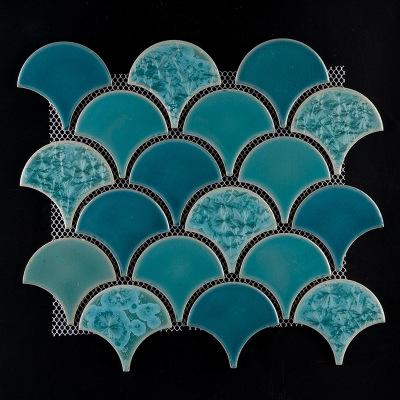 马赛克瓷砖鱼鳞砖陶瓷扇形蓝色伞型裂纹景德镇工厂直销批发分销