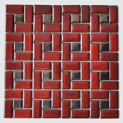 中国红色陶瓷窑变方形手工马赛克浴室阳台建材装修材料内墙鱼池砖