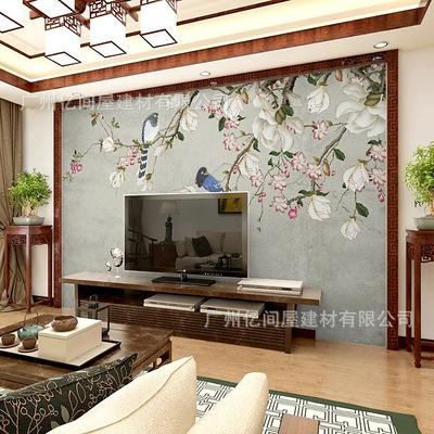 现代简约中式电视背景墙纸影视墙客厅花鸟壁纸卧室5d立体壁画墙布