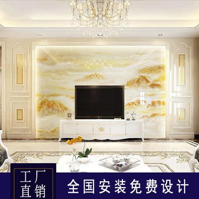 欧式大理石罗马柱电视背景墙瓷砖微晶石材影视墙岩板背景墙山水画