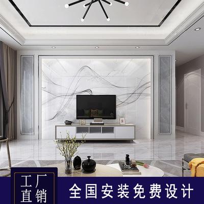 现代简约电视背景墙瓷砖微晶石客厅影视墙大理石材轻奢岩板背景墙
